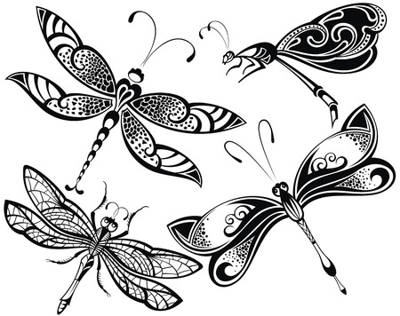 butterfly tattoo design: Dragonfly set Illustration