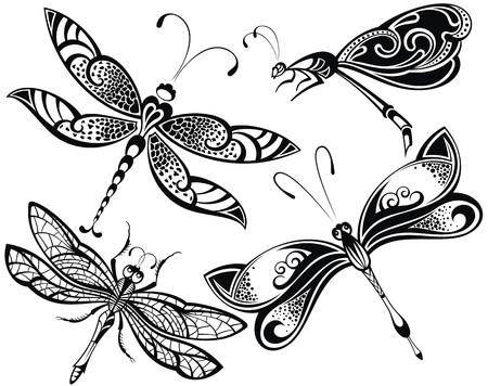donna farfalla: Set Dragonfly Vettoriali