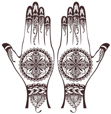 indian tattoo: Vector illustration of hands with henna tattoos