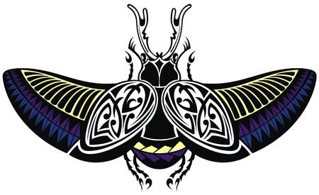scarabeo: Vector scarabeo, stile tatuaggio Vettoriali