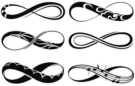 signo infinito: Amor infinito, para siempre símbolos Vectores