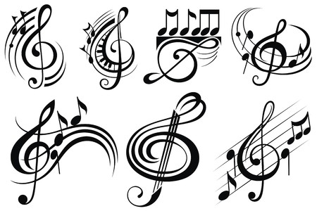 Ornamental music notes 일러스트