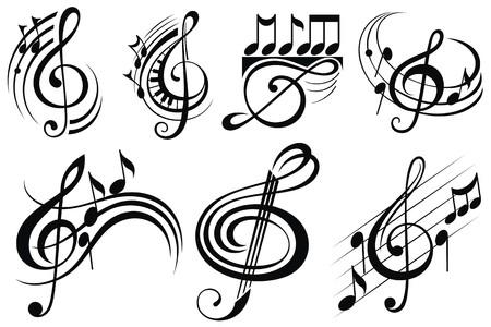 clave de fa: Notas de la música ornamentales