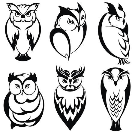 isolated owl: Aves b�ho aislados en estilo tatuaje