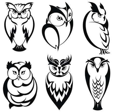 prey: Isolated owl birds in tattoo style Illustration
