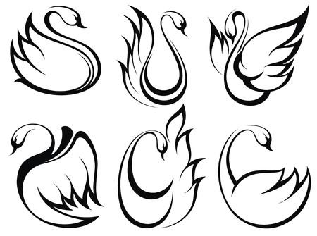 白鳥シンボル セット  イラスト・ベクター素材