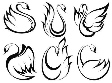 swimming swan: Swan symbol set
