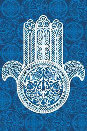 fish spa: Vector Indian hand Illustration