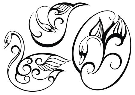 swan lake: Stylized swan.Vector set of birds Illustration