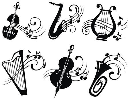 arpa: Vector de íconos de la música
