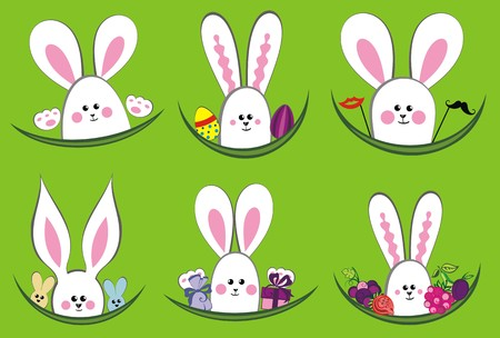 Colorful easter rabbit collection Vector