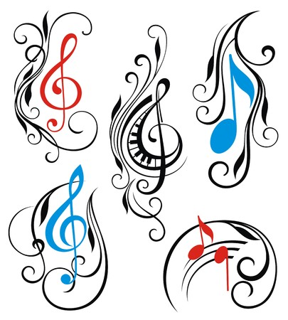 treble clef: Set of music notes vector Illustration