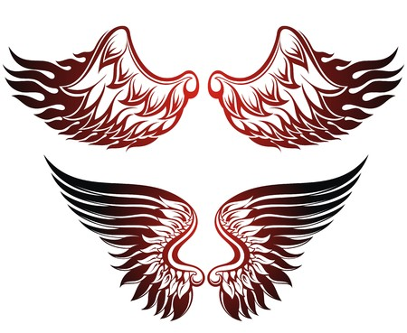 tattoo wings: Wings set