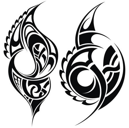 polynesian: Maori styled tattoo pattern