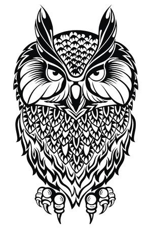 sowa: Owl.Tattoo Sowa Ilustracja