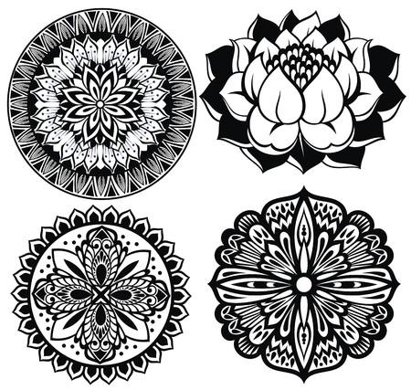 lily flowers set: Set Mandalas. Round Ornament Pattern.Lotus flower