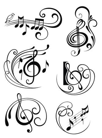 noir et blanc: Notes de musique Illustration