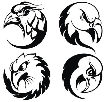 halcones: Estilizada colecci�n emblem.Birds cabeza de �guila
