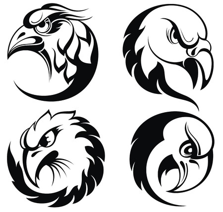 black and white image drawing: Stylized eagle head emblem.Birds collection