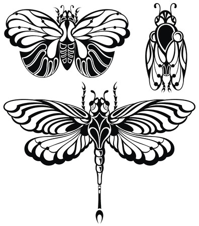 dragonfly art: Set of butterflies silhouettes.Dragonfly