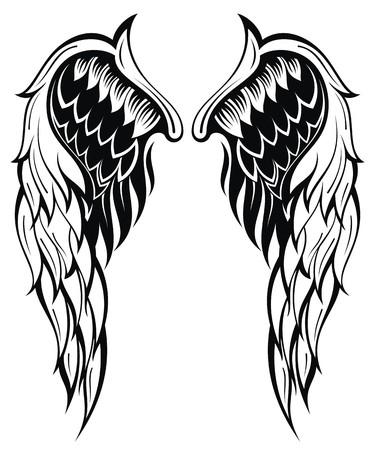 tatouage ange: Ailes de vecteur