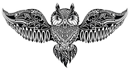 wise owl: Owl in tribal style for mascot or tattoo