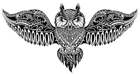sowa: Sowa w stylu tribal na maskotkę lub tatuaż