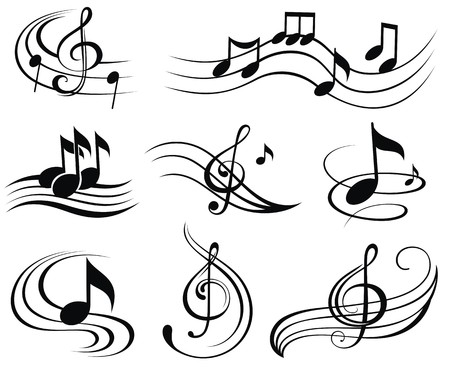 iconos de m�sica: Notas musicales. Conjunto de elementos de dise�o de m�sica o iconos.