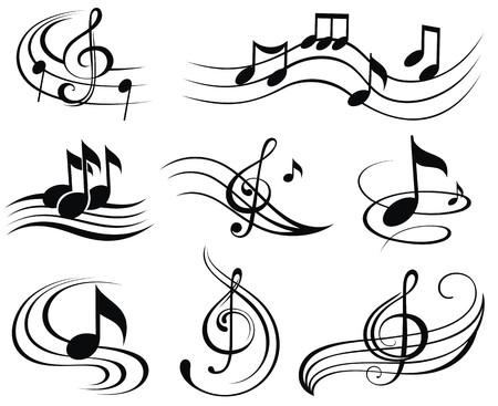 notas musicales: Notas musicales. Conjunto de elementos de dise�o de m�sica o iconos.