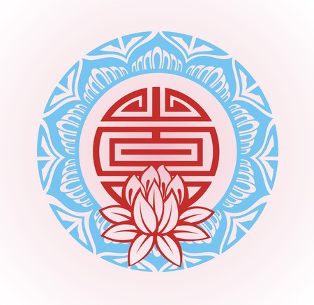 ayurveda: Frame with lotus.Oriental background