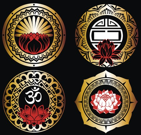 Set of lotuses and esoteric symbols