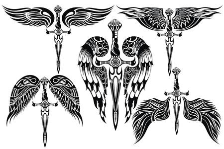 Vleugels en Sword grote set Stock Illustratie