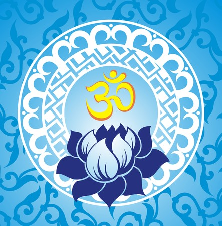 Indian spiritual sign ohm with lotus Illustration