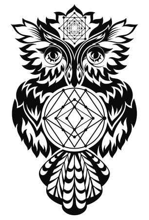totem indien: hibou en noir et blanc