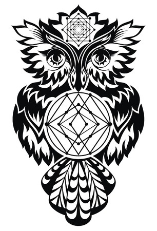 indian animal: owl in black and white
