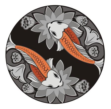 koi fish pond: Fishes illustration Illustration