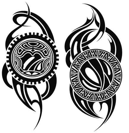 Maori styled tattoo pattern for a shoulder Stock Illustratie
