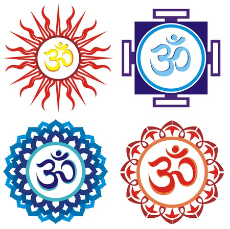 Om symbols indian spiritual sign ohm Иллюстрация