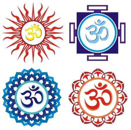 Om symbols indian spiritual sign ohm Vettoriali