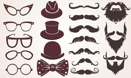 retro glasses: Retro gentleman39s set consists of a hat glasses and mustache
