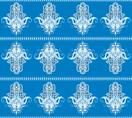 Vector Indian hand drawn hamsa symbol seamless pattern Vector