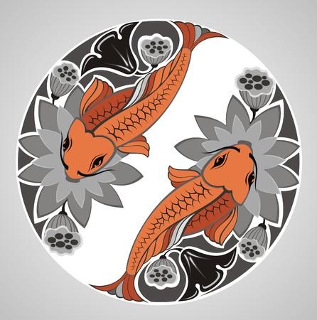 tatouage fleur: KOI décoration japonaise