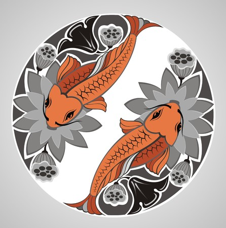 Japanese decorative KOI Illustration