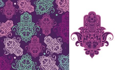 Seamless arabic hamsa hand illustration background