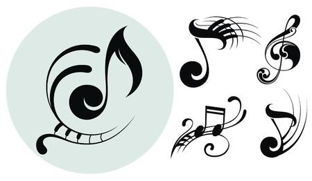 half note: Ornamental music notes Illustration