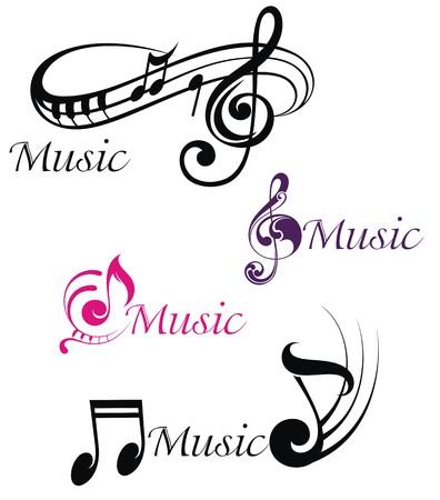 Verschillende muzieknoten Stock Illustratie
