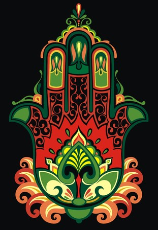 mantra: Indian hand drawn hamsa with ethnic ornaments