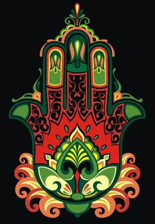 indische muster: Indian Hand gezeichnet hamsa mit ethnischen Verzierungen Illustration