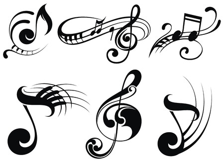 clave de fa: Notas de la música en pentagramas