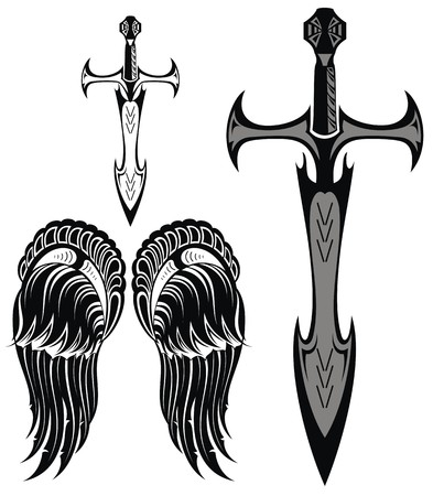 gothic angel: Set of swords and wings